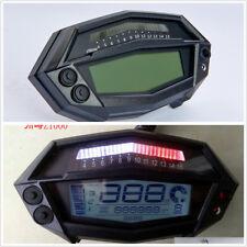 12V Motorcycle Bike LCD Digital White Backlight Speedometer Gear Indicator Clock
