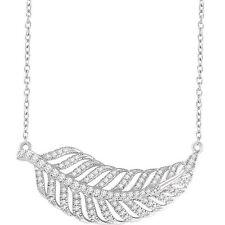 Diamante Hoja 40,6 -45 , 7cm Collar en 14k ORO BLANCO ( 3/8ct. TW