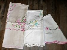 Lot Vintage Tablecloths Hand Embroidered Flowers Wheat 3 Beautiful
