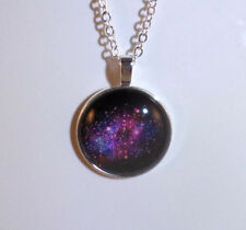 Galaxy Pendant 28mm cabochon on silver plated necklace JoMacDesign