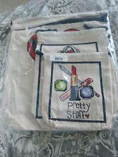BRIGHTON Spring 3 Piece Travel Set Canvas Bags Promo 3 sizes - New mh