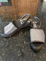 Women's Circus by Sam Edelman Wilson Black/White Woven Flat Sandals Size 8, New