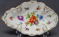 Richard Klemm Dresden Hand Painted Floral & Gilt Serving Dish C. 1891 - 1914