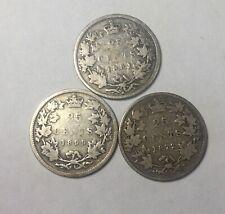 Canada 1872H 1881H 1899 25 Cent Silver Quarter Trio Queen Victoria Mixed Grades
