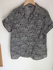 Black Beige Patter Cotton Blouse Size 22 Lovely Shirt Top Brand New Bnwot