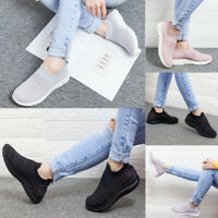 Women Knit Sneakers Casual Walking Flat Shoes Breathable Comfy Slip On Loafers
