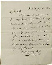 1823 Signed Manuscript Letter - ST KITTS -  SCOTTISH SLAVE OWNERS - West Indies