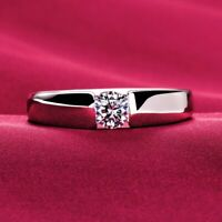 Diamond Solitaire Engagement Ring 14k White Gold Over 0.50 Ct Round Cut