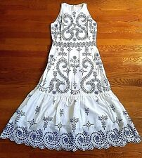 2017 $695 Tory Burch Mariana Blue White Broderie Embroidered Dress Small / US 4