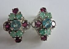 Rhodolite Garnet Topaz &  Emerald Earrings