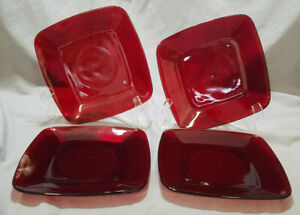 Vintage Anchor Hocking Royal Ruby Charmed Luncheon Plates, Set of 4 (1950-56)