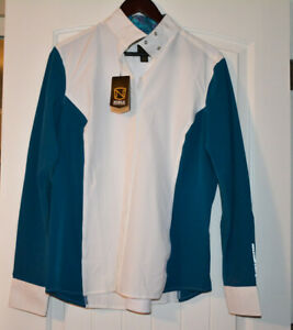 Madison English Show Shirt Noble Outfitters Size XL Teal And White NEW!