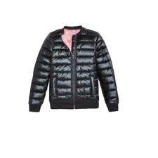 Ideology Big Girl's Metallic Puffer Bomber Warm Jacket, Noir Black Med 10/12