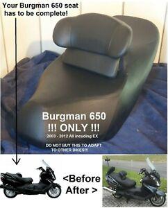 Suzuki Burgman 650 Drivers Backrest  2003 - 2012 back rest seat Driver