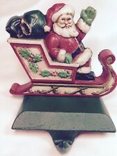 Midwest Christmas Stocking Cast Iron Hanger Holder Waving Santa in Sleigh Holly