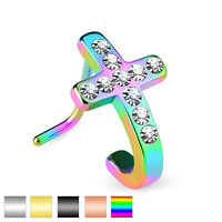 Pave CZ Cross IP Plated Helix Tragus Cartilage Piercing L Bend Nose Stud Ring