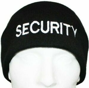 Security Woolly Beanie Hat in Black Security Door Personnel SIA Thermal Guard