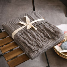 Soft Knitted Throw Blanket Bed Sofa Couch Decorative Fringe Waffle Pattern 51x67