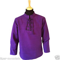 Thick Cotton Hippy Long Sleeved Lace Up Grandad / Ghillie Shirt in Purple
