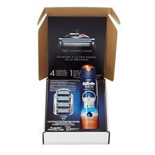 Gillette Fusion ProGlide Razer Blade Refill 4 Count + Sensitive Shave Gel - 6 Oz
