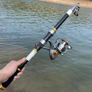 Carbon Portable Telescopic Fishing Rod Reel Spinning Pole Combo Set Fish Tackle