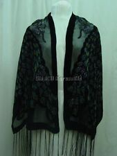 Silk Blend Peacock shawl Victorian style black with teal & olive green accents