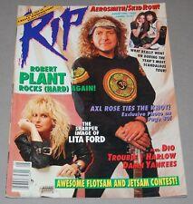 RIP Magazine Aug 1990 Robert Plant Poster Lita Ford Skid Row Axl Dio Aerosmith