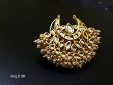 Indian Bollywood Fashion Party Wear Gold Plated Adjustable Size Kundan Rings E59