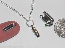 2pc Miniature Tiny little Bullet necklace bracelet vampire Pendant charm 14mm
