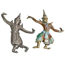 Vintage Two Sterling Silver Siam Dancers Brooches, One Decorated With Enamel