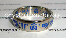 FENG SHUI - SIZE 6 BLUE SACRED MANTRA RING (STAINLESS STEEL)