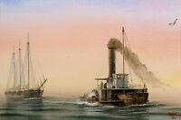 "Pete Peterson ""The Tug"" Original Watercolor Painting sailboat tug boat MakeOffer"