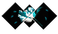 TEAL TURQUOISE FLORAL FLOWER CANVAS WALL ART TWILIGHT PICTURE 4 PANEL 148cm wide