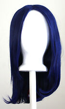 17'' Long Straight No Bangs Midnight Blue Cosplay Wig NEW