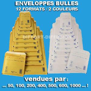 Enveloppes à bulles / matelassées marrons ou blanches 12 formats qualité Premium