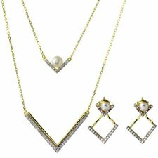 V - SHAPE DOUBLE STRAND NECKLACE AND EARRING SET W/ LAB DIAMOND & PEARL / 18''