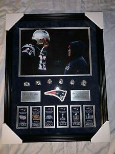 Tom Brady & Bill Belichick Unsigned Custom Framed 20x26 Photo w/ Rings