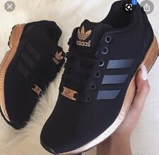 Rare Limited Edition Adidas Rose Gold/Copper Black ZX Flux Trainers  6 Worn Once