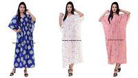 Plus Size Women Cotton Long Sleeve Maxi Dress Kaftan Casual Dress 3 PC Combo Set