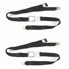 2PC 2 Point Black Lap Seat Belt with DOT Cert 88 Inch Pair BKPR