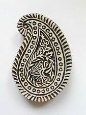 Paisley Shaped 14.8cm Indian Hand Carved Wooden Printing Block (2017-PA-4)