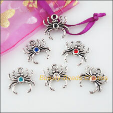 6 New Charms Animal Spider Mixed Crystal Tibetan Silver Tone Pendants 17mm