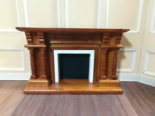 Dollhouse Miniature Fireplace  with Columns Walnut Finish 1:12 Scale Furniture