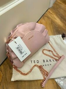 NEW! £140 Ted Baker Ruffle leather cross body bag, Pink