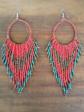 Red Tribal Navajo Long Bead Dangle Hoop Earrings - Proceeds to Animal Rescue