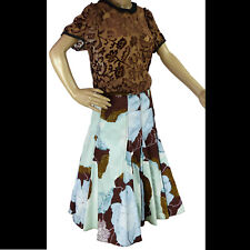 Odille Anthropologie Womens Small Skirt Blue Brown Flared