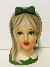 Vintage Napco TP 2119 Hand Painted Ceramic Head Vase Teen 5.5\u201d Blonde Pigtails Ribbons Double Pearl Earring Lipstick Blue Hat Made in Japan