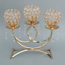 Crystal Votive Candle Holder Candelabra Wedding Banquet Table Decor Gold