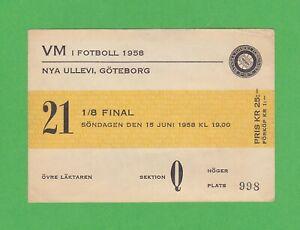 1958 FIFA World Cup ticket #21 1/8 Finals Brazil vs Soviet 2-0, Pelé WC debut