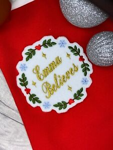 PERSONALISED CHRISTMAS BELIEVES NAME EMBROIDERED PATCH PERFECT FOR XMAS PROJECTS
